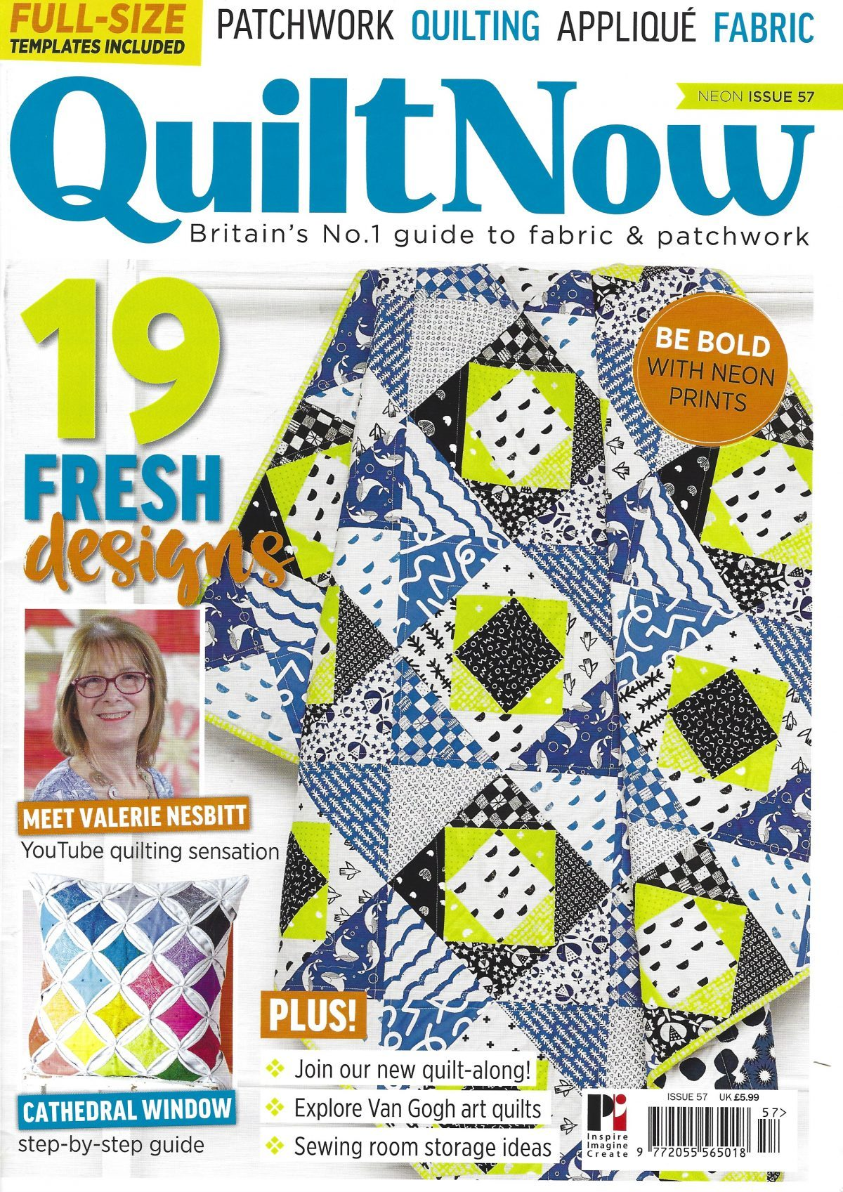 front cover from QuiltNow Issue 57 with interview of Valerie Dec 2018