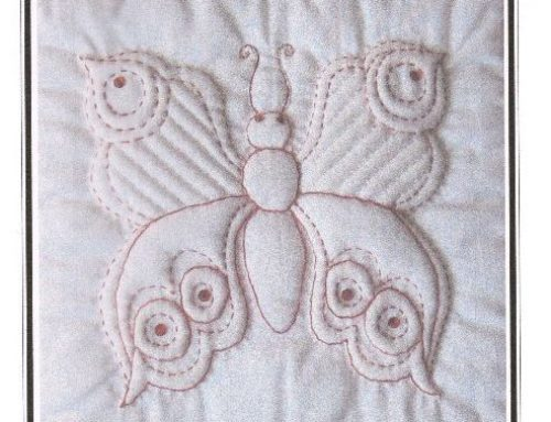 Subscriber Giveaway for July 2021 – Lesser Spotted White Butterfly Trapunto kit by Sylvia Critcher