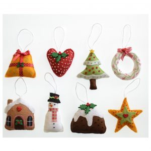 'Tis the Season Christmas Decorations pattern designed by Sue Trangmar, felt, hand sewing