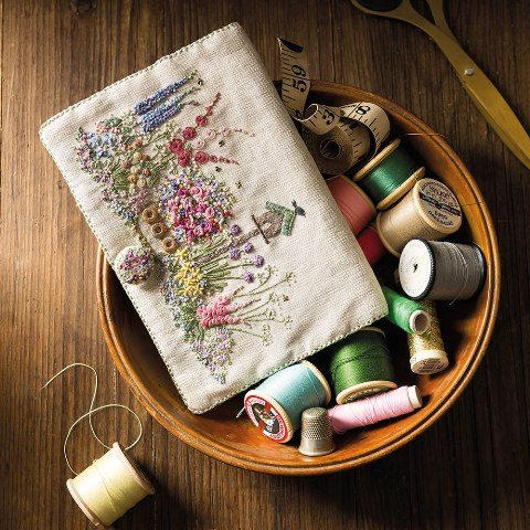 Embroidered Country Garden NeedleCase, lorna Bateman,