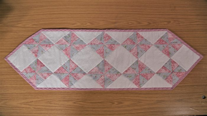 Paris Romance, fabric range, Makower, table runner, kit, Valerie Nesbitt, pinwheels, half square triangles, thangles, T-Sheets, patchwork, patchwork table runner