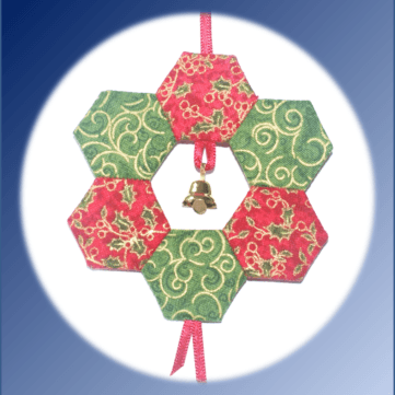 EPP, wreath, Christmas, English Paper piecing, ornament