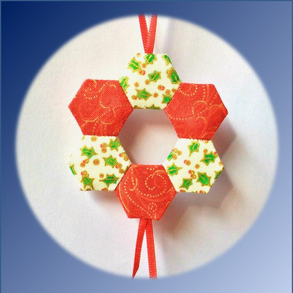 wreath, christmas, ornament, deoration, epp, english paper piecing