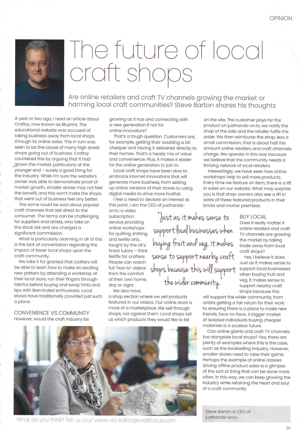 Barton article on shops and community from CRAFT FOCUS