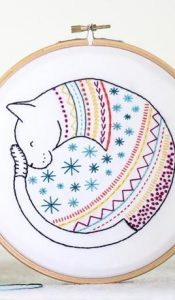 PRODUCT of the MONTH: Cat Embroidery Kit designed by Hawthorn