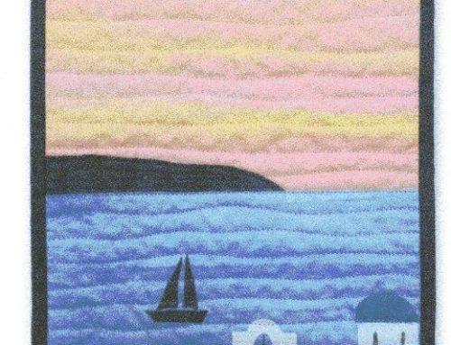 Subscriber Giveaway for October 2019 – Sunset over Santorini Miniature quilt kit by Julia Gahagan