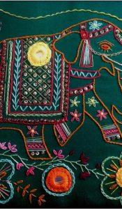 Shisha Mirror Elephant Embroidery kit designed by Kathleen Laurel Sage
