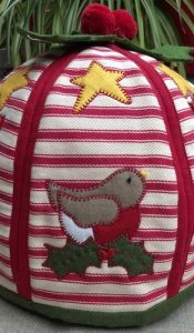 Stripy Christmas Tea Cosy kit designed by Mandy Shaw