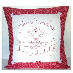 Redwork Robin cushion Gail Penberthy