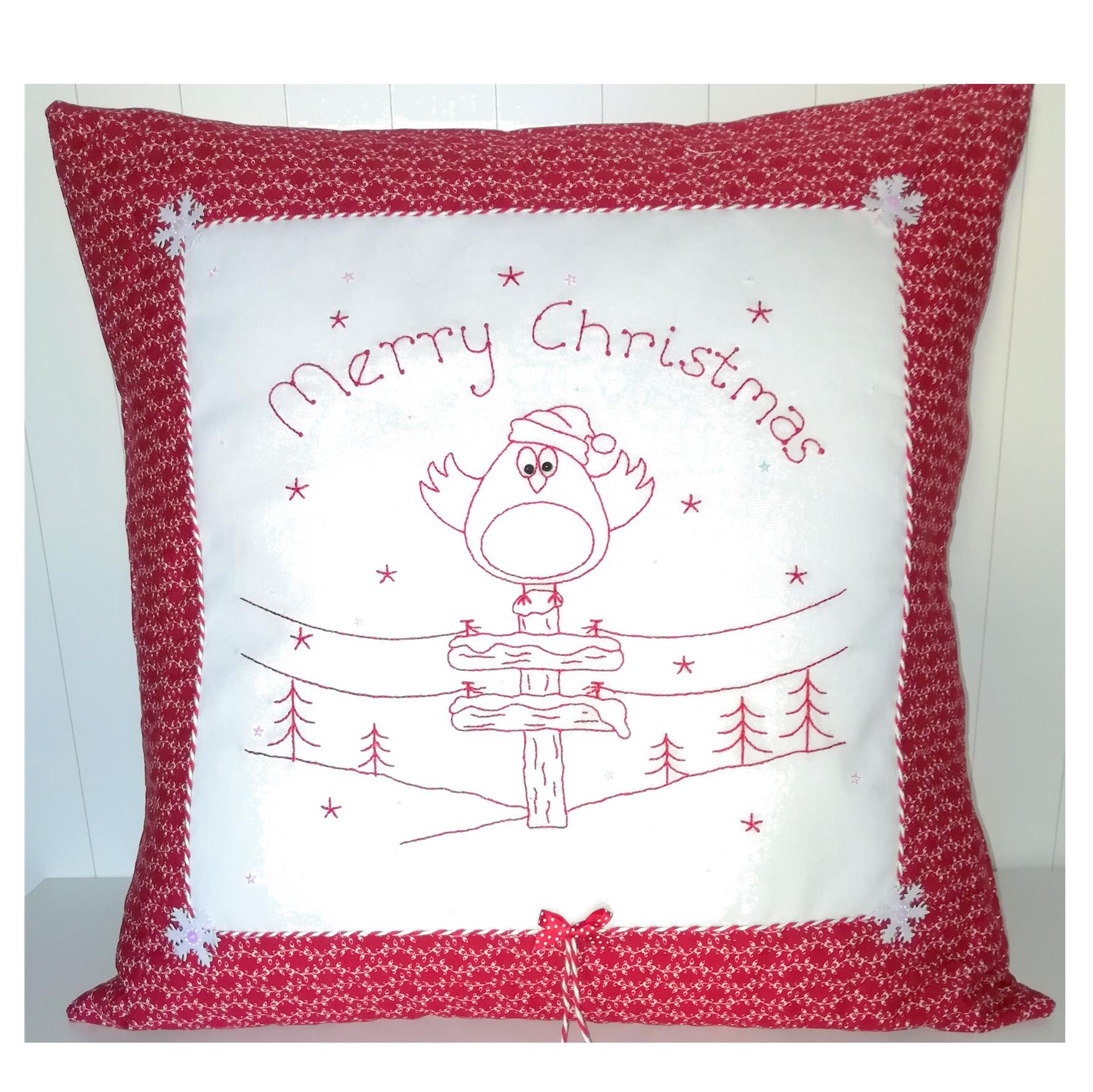 Redwork Robin cushion Gail Penberthy