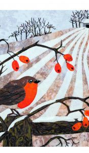 PRODUCT of the MONTH Sept 20: Robin and Rosehips Applique kit from Kate Findlay
