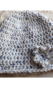 Beanie Hat with Daisy Flower crochet pattern designed by Jane Czaja (download)