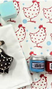 Dotty Chicken Tea Towel Block Printing Kit from The Arty Crafty Place