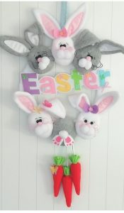 Hippity Hop Easter Egg and Bunny Wreath pattern by Gail Penberthy