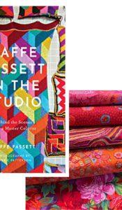 JUNE 2021 SPECIAL OFFER: Kaffe Fassett Extravaganza – Kaffe Fassett in the Studio book PLUS Red Fabric Fat 1/4 Bundle