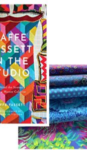 JUNE 2021 SPECIAL OFFER: Kaffe Fassett Extravaganza – Kaffe Fassett in the Studio book PLUS Blue Fabric Fat 1/4 Bundle