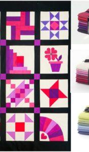 Fat 8ths Pack – 8 Colours from Oakshott Fabrics for Beginner Patchwork Sampler quilt (8 colourways available)