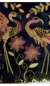 Gold work pink flamingo Kit designed by Kathleen Laurel Sage