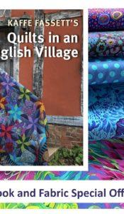 SEPT 2021 SPECIAL OFFER: Kaffe Fassett Extravaganza #2- Kaffe Fassett's Quilts in an English Village book PLUS Blue Fabric Fat 1/4 Bundle